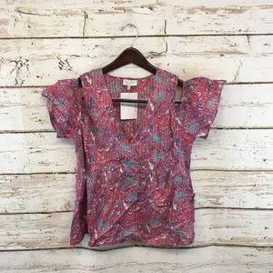 Lucky Brand Tops - Lucky Brand Medium Ruffle Floral Cold Shoulder Top